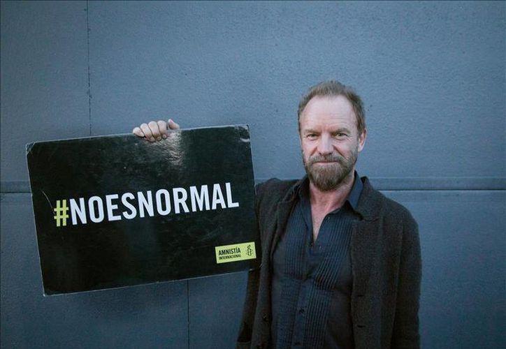Con la leyenda #NoEsNormal, el exintegrante de The Police, Sting, se refirió a las más de 27 mil desapariciones desde 2006, que Amnistía Internacional reporta en México. (EFE)