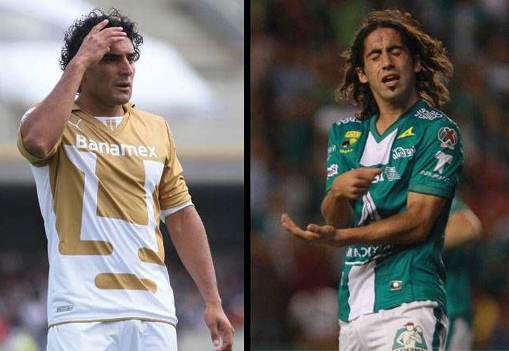Martín Bravo (i) pasará al León en lugar de Matías Britos, que a su vez ocupará su lugar en el equipo de la UNAM. (futboltotal.com.mx)