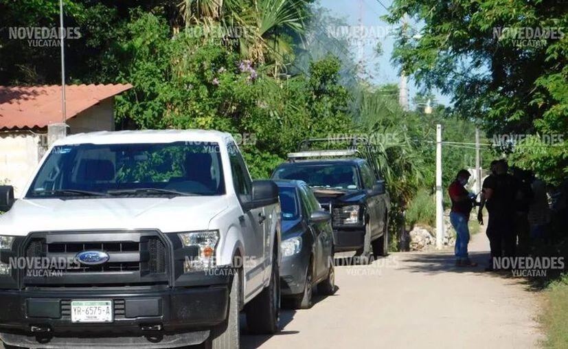 La movilización policiaca en Tekax tras el homicidio. (Novedades Yucatán)