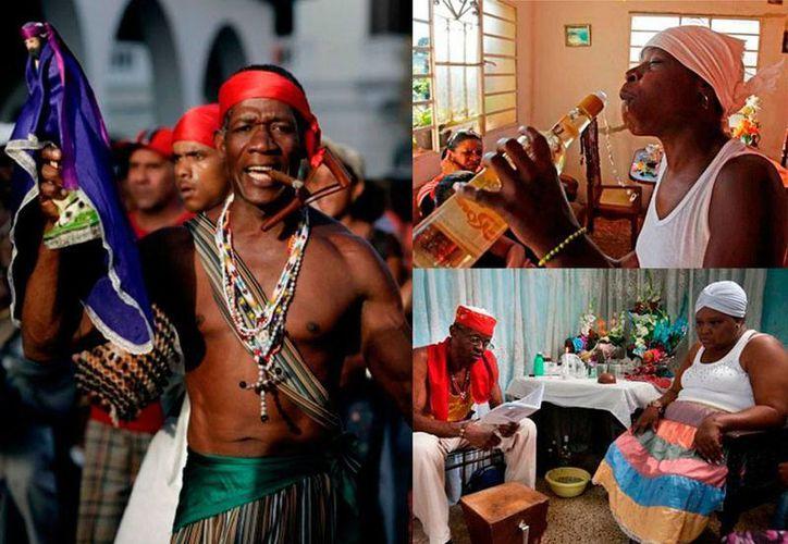 El sincretismo religioso con las tradiciones africanas son tan fuertes que se puede ver a los mismos fieles católicos realizando este tipo de ritos. (Fotocomposición con imágenes de: Juan Carlos Angulo de MILENIO y agencias).