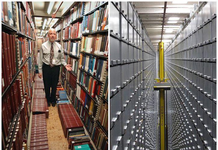 """Izquierda, Steven Herman, jefe de almacenamiento de la Biblioteca del Congreso 2003. A la derecha, sistema """"bookBot"""" para encontrar libros en la Universidad Estatal de Carolina, en 2013. (Agencias)"""