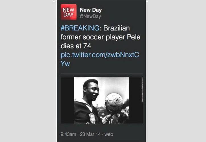 """Este es el tuit que se lanzó informando del deceso de Pelé: """"El astro brasileño Pelé murió a los 74 años de edad""""... (@SachinKalbag)"""
