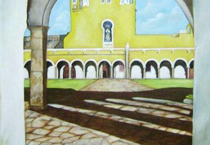 La exposición pictórica muestra edificios de diversos municipios de Yucatán. (Milenio Novedades)