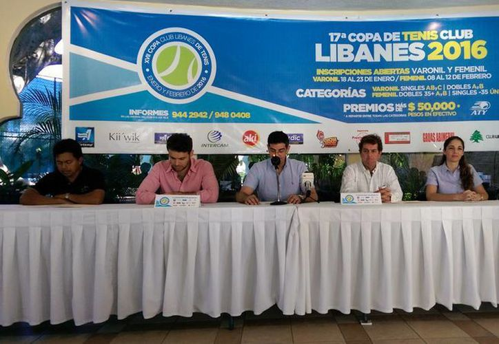 Durante una rueda de prensa se dieron a conocer los pormenores de la  XVII edición de la Copa de Tenis Libanés 2016. (Milenio Novedades)