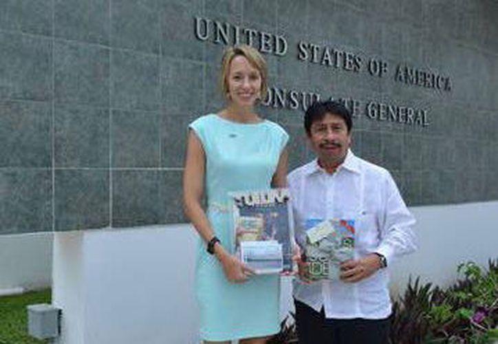 La reunión entre la funcionaria estadounidense y el próximo presidente municipal de Tulum se dio en Mérida. (SIPSE)