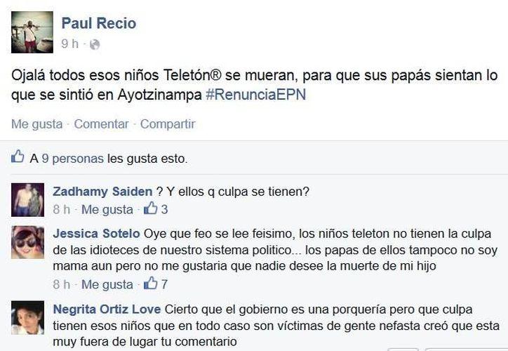 El comentario que posteó en Facebook Paul Recio Puerto, community manager del Ayuntamiento de Progreso. (Óscar Pérez/SIPSE)