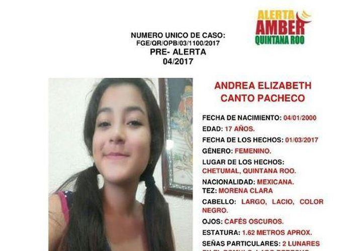 La joven fue vista por última vez el pasado primero de marzo. (Alerta Amber Quintana Roo)