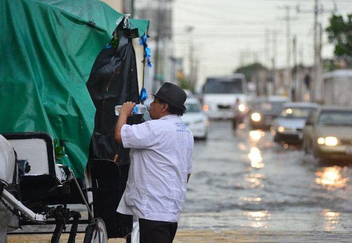 Agua por todos lados dejó la lluvia de ayer por la tarde en Mérida, y aunque desquició las actividades cotidianas, algunos ciudadanos responsables no dejaron su debe, como este calesero. (Luis Pérez/SIPSE)