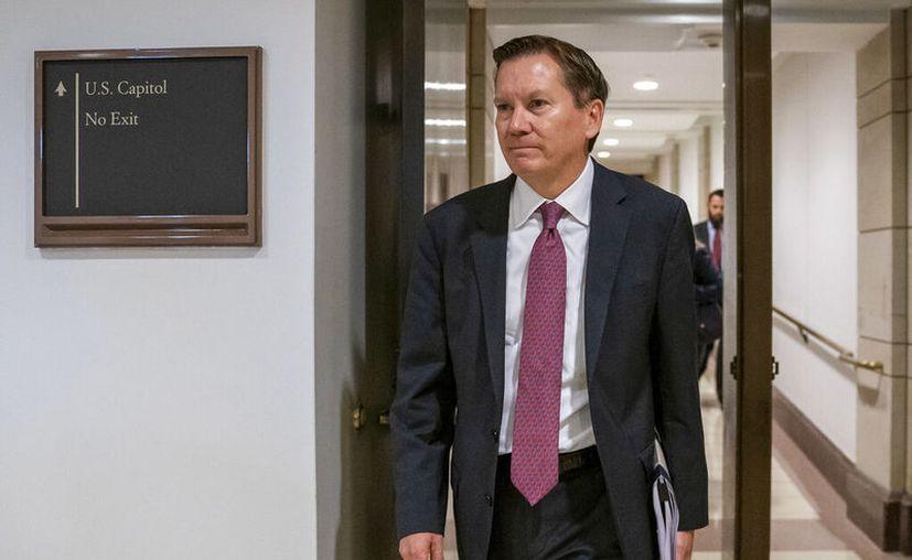 El inspector general de los servicios de inteligencia de EEUU Michael Atkinsons al arribar al Capitolio en Washington. (AP Foto/J. Scott Applewhite, File)