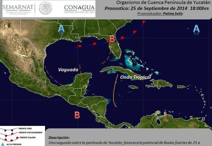 Pronóstico de las condiciones del tiempo en la Península de Yucatán para este jueves. (@conaguayucatan)