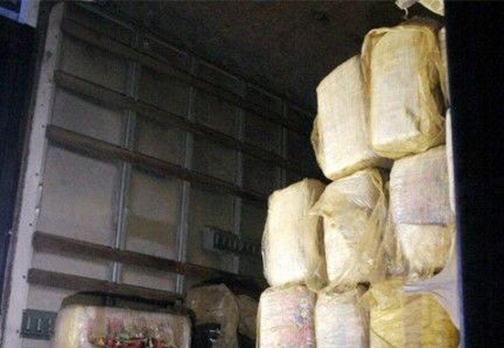 El trailero que transportaba el cargamento de marihuana fue detenido. (Notimex)