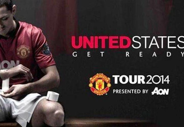 El delantero mexicano Javier <i>Chicharito</i> Hernández en un anuncio promocional. (Foto de Twitter del Manchester United)