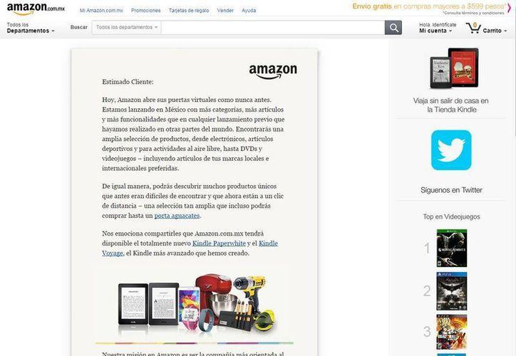 Amazon publicó en su sitio web en México una carta de bienvenida a sus clientes. (mazon.com.mx)