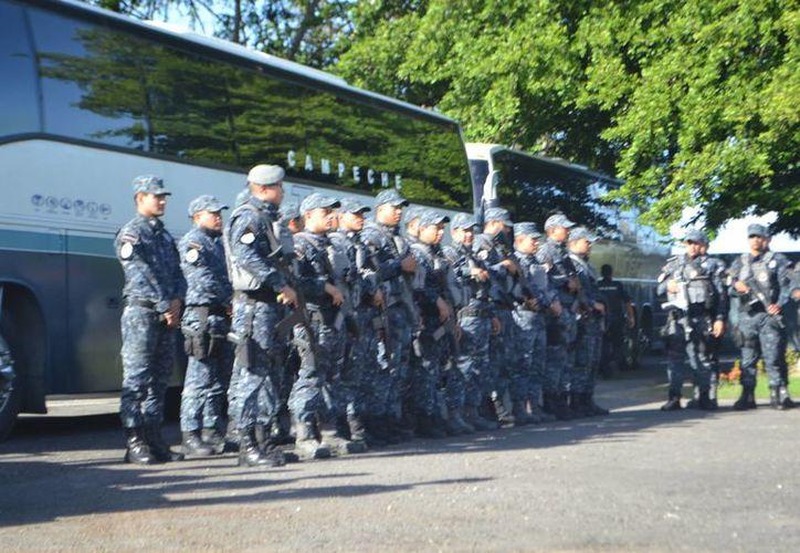Como parte del Operativo Invierno Seguro en Chetumal arribó un equipo de la gendarmería de la Policía Federal. (Paloma Wong/SIPSE)