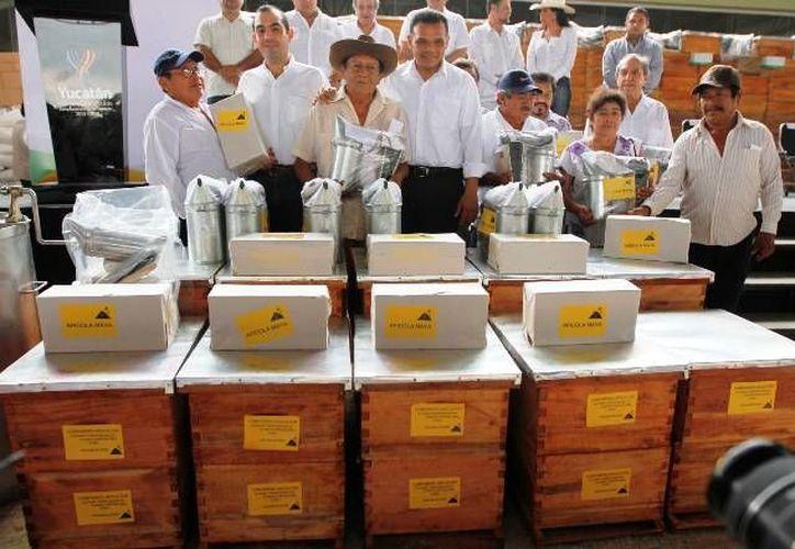 En la Pista de Calificación de la Feria Yucatán en Xmatkuil, el gobernador Rolando Zapata entregó ayer apoyos a apicultores y ganaderos por más de 20 mdp. (Cortesía)