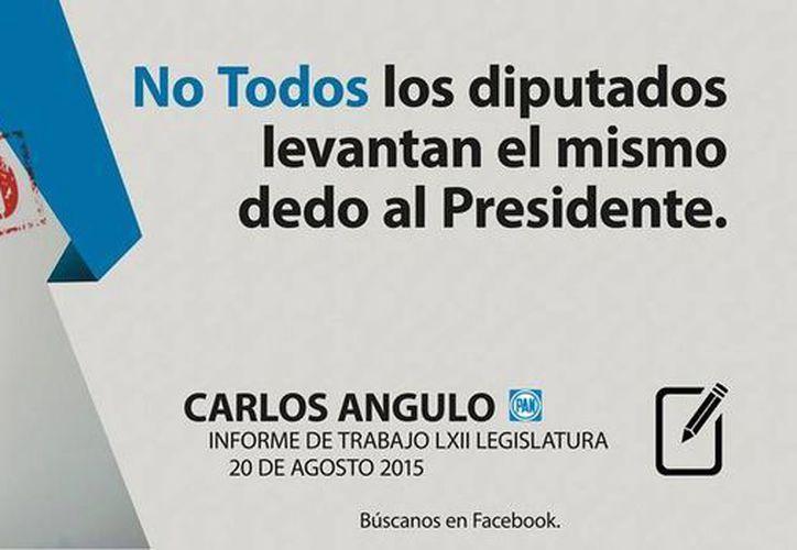 Imagen de la propaganda del diputado federal panista Carlos Angulo Parra,  en el que promueve su tercer informe de gobierno. (Facebook de Carlos Angulo)