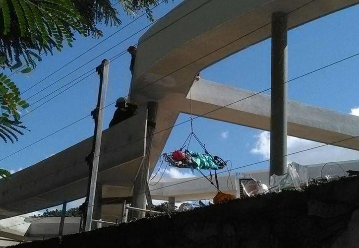 Imagen del momento en que paramédicos de la SSP rescatan al trabajador electrocutado, en las instalaciones del CICY. (Luis Fuente/Milenio Novedades)