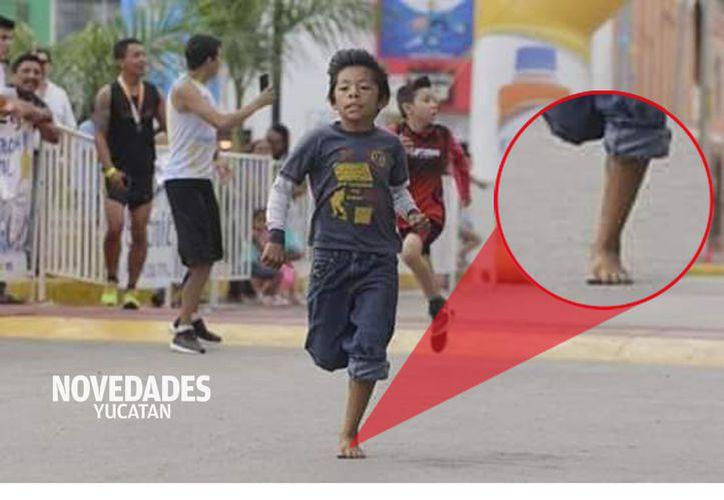 Ángel Tzakum corrió descalzo y superó a los demás participantes.