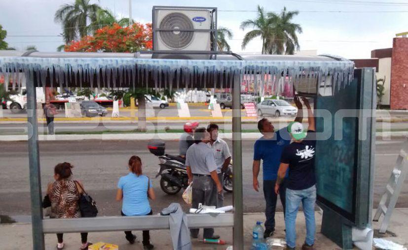 Los paraderos tienen ya los aires acondicionados instalados. (E. Vargas/SIPSE.com)