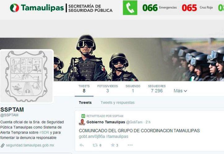 El Gobierno de Tamaulipas creó la cuenta @SSPTAM para alertar a la población sobre sucesos que impliquen riesgos de seguridad. (Captura de pantalla)