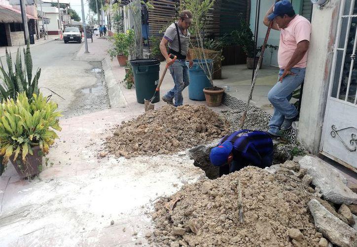 Las banquetas destruidas están ubicadas en la calle 22 y en la colonia cinco de mayo. (Javier Ortiz/SIPSE)