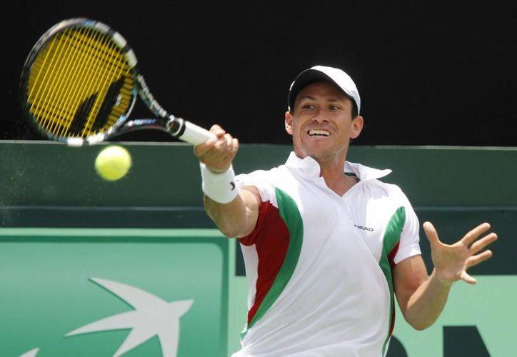 El mexicano Miguel Ángel Reyes, ganó el primer juego de Copa Davis, contra el peruano Mauricio Echazú. (Foto: Notimex)