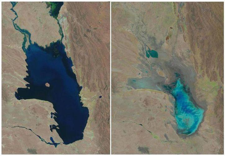 En una composición fotográfica de imágenes satelitales proporcionadas por el Servicio Geológico de Estados Unidos, se muestra el lago Poopó lleno de agua el 11 de octubre de 1986, izquierda, y casi seco el 16 de enero de 2016. (Agencias)