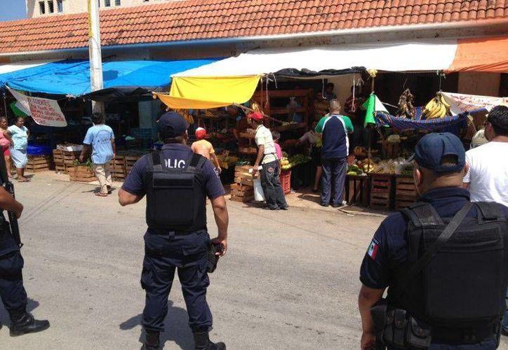 Elementos de Seguridad Pública se presentaron para apoyar a fiscales del municipio de Solidaridad en el desalojo de comerciantes. (Adrián Barreto/SIPSE)
