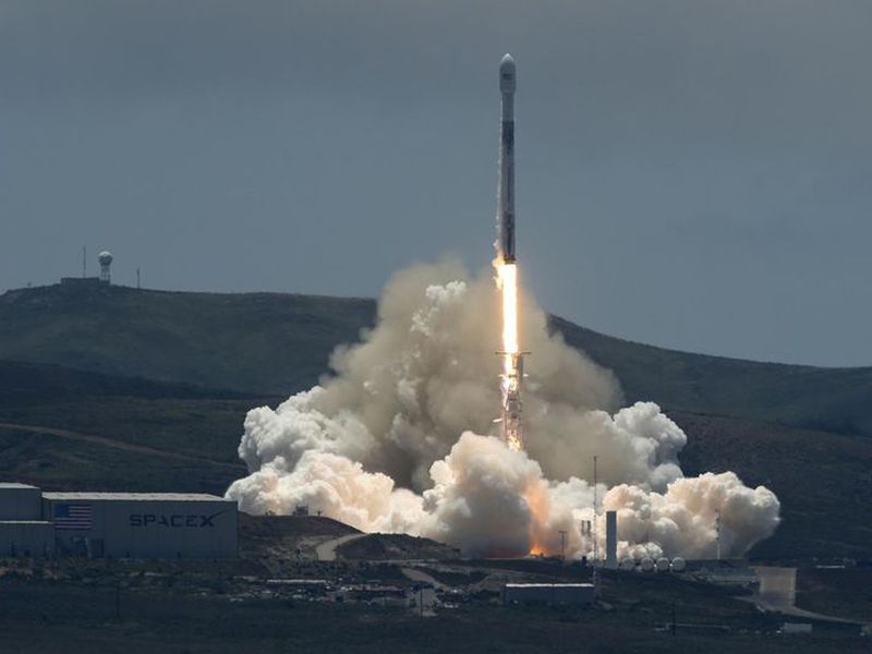 In this photo provided by NASA, the SpaceX Falcon 9 rocket carrying the NASA/German Research Centre for Geosciences GRACE Follow-On spacecraft lifts off from Vandenberg Air Force Base in California.
