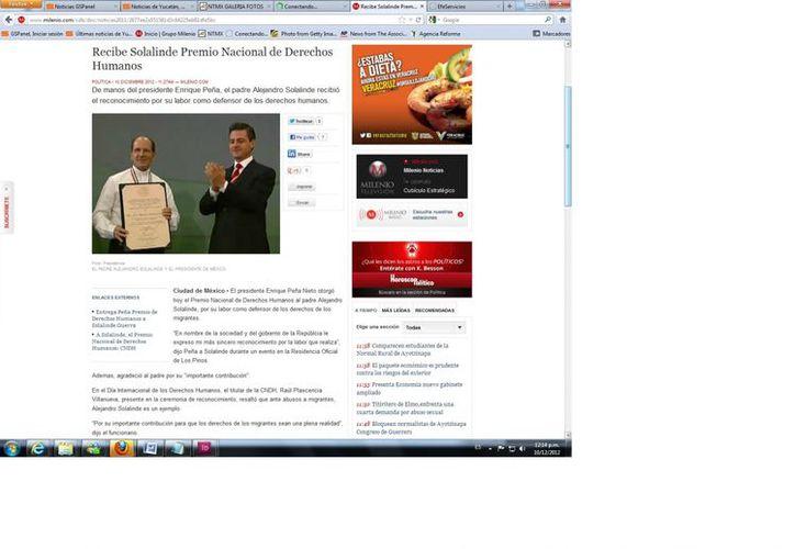 'Le expreso mi más sincero reconocimiento por la labor que realiza', dijo el presidente Peña Nieto a Solalinde en Los Pinos.  (Captura de pantalla de Milenio)