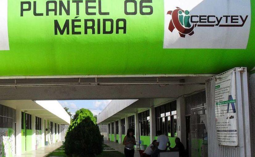 La Cervecería Yucateca contrató a 30 estudiantes de los planteles Hunucmá y Maxcanú, del Cecytey, para laborar en la línea de producción. Imagen de contexto de un plantel en Mérida de la institución escolar. (Milenio Novedades)