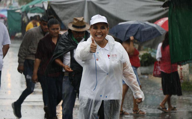 La candidata de Morena-PT, también realizó recorridos por la Región 94 de Cancún. (Redacción/SIPSE)