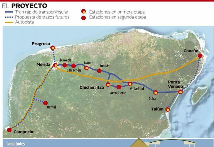 Puntos que tocará el tren transpeninsular en su recorrido entre Yucatán y Quintana Roo. (SIPSE)