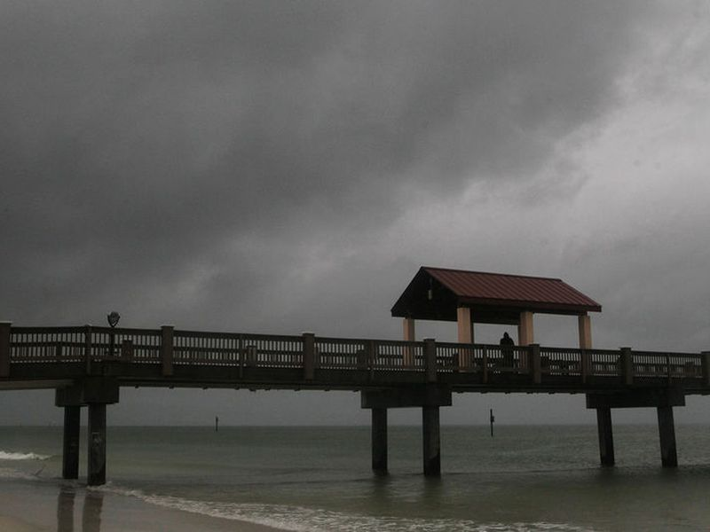 Rain falls on Clearwater Beach by Pier 60 early Sunday morning, as northbound Subtropical Storm Alberto looms in the gulf to the southwest.