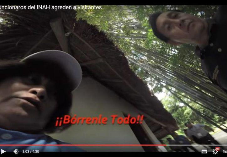 Un video captó el momento en el que dos turistas son agredidos por empleados del INAH en San Gervasio. (Captura de pantalla)