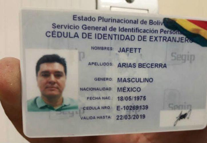 José González Valencia, presunto líder de cártel, contaba con identificación boliviana, a nombre de Jafett Arias Becerra. (Contexto/Internet)