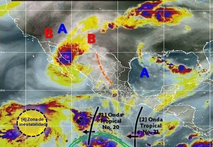 Debido a la onda tropical 21 que se extiende sobre el sur del Golfo de Tehuantepec, se pronostican lluvias para el sur-sureste del territorio nacional. Las autoridades piden a la población mantenerse alertas. (SMN)