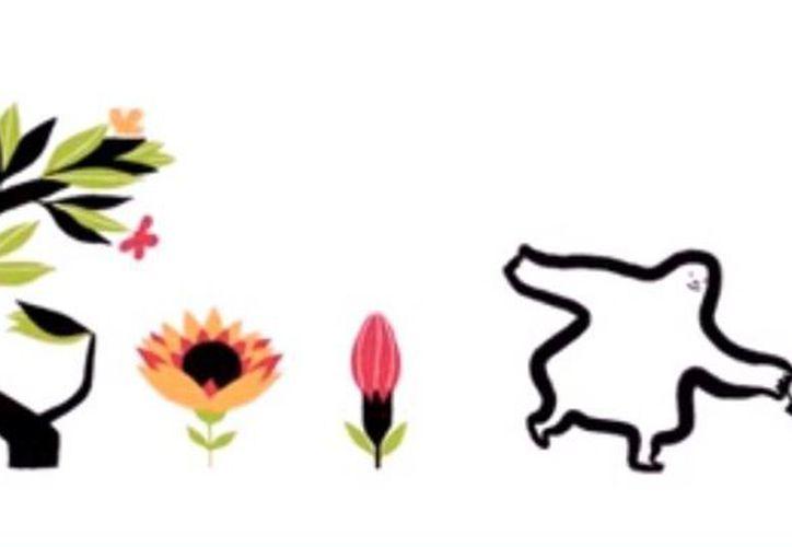 El 'doodle' muestra a un personaje regando la pantalla. (Captura de pantalla de YouTube)