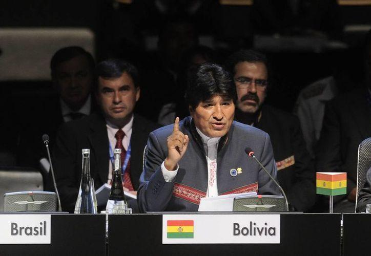 El presidente de Bolivia, Evo Morales, durante la reunión de la Comunidad de Estados Latinoamericanos y Caribeños. (Notimex)