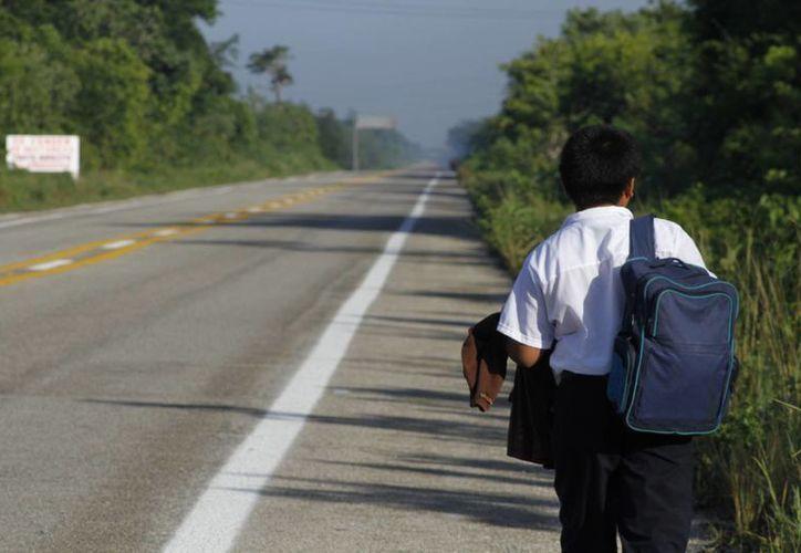 Daniel camina 40 minutos, de su casa hasta la escuela, que se encuentra en la zona irregular, Tres Reyes. (Sergio Orozco/SIPSE)