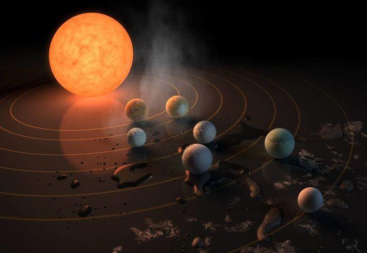 Representación artística de las dimensiones de los siete planetas que orbitan alrededor de la estrella Trappist-I. (NASA)
