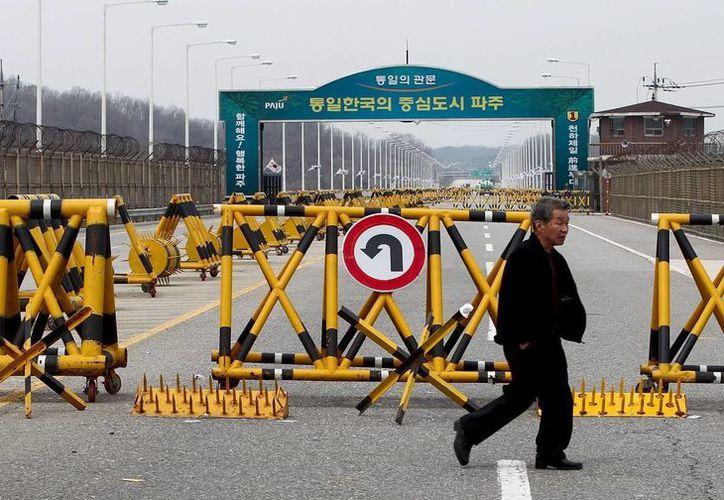 Un hombre camina junto a la frontera en la Línea de Demarcación Militar (LDM) en la Zona Desmilitarizada en la provincia de Gyeonggi en Corea del Sur. (EFE)