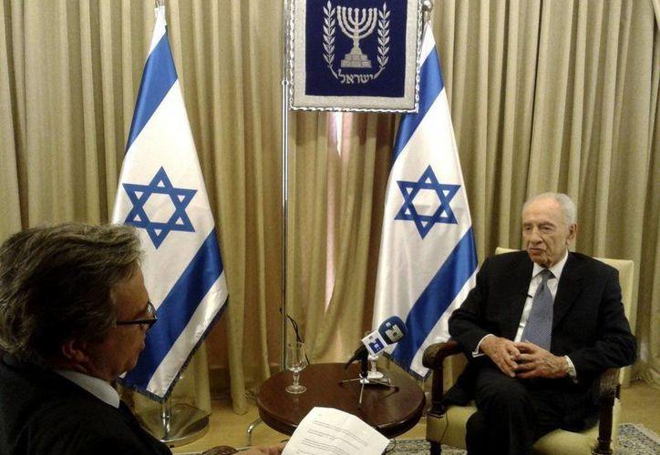 El presidente israelí, Simón Peres, durante la entrevista concedida a EFE en Jerusalén. (EFE)
