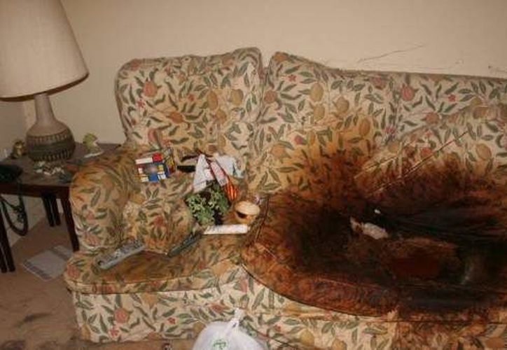 La anciana fue encontrada muerta en este sofá. (DailyMail)