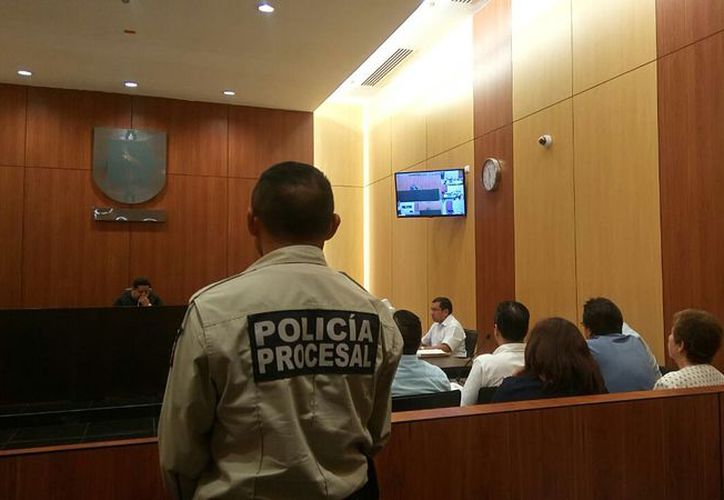 Imagen de la audiencia de los implicados en el asesinato de Emma Molina Canto. (Luis Fuente/Milenio Novedades)