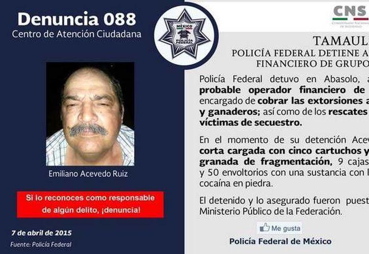 Al momento de ser detenido, Emiliano Acevedo Ruiz portaba un arma corta con circo cartuchos útiles. (Twitter.com/@PoliciaFedMx)