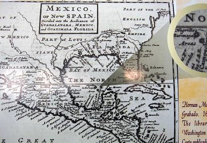 Algunos documentos que se exhibirán fueron elaborados en el siglo XVI. En esta imagen, de la agencia AFP, un mapa antiguo que ubica a la Isla Bermeja, hoy desaparecida de las cartografías modernas.