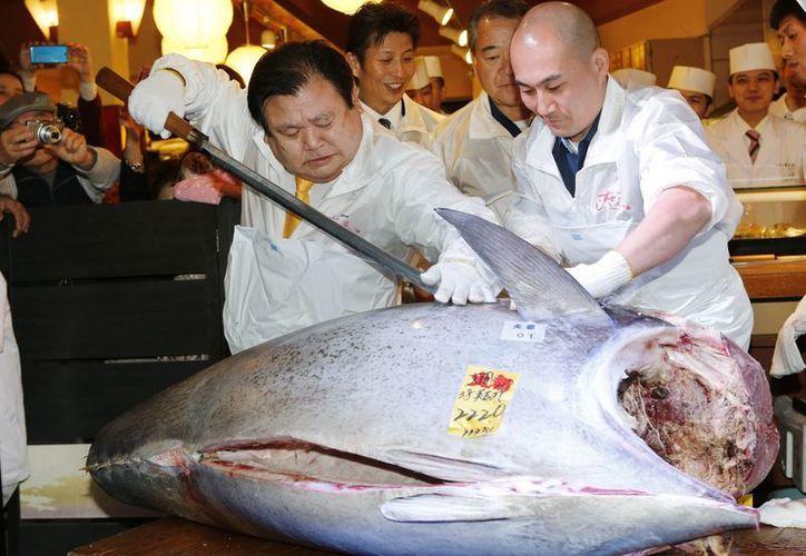 Kiyoshi Kimura (i), director de la cadena de restaurantes de  Kiyoshi Kimura, corta el costoso atún de aleta azul de 222 kilos. (Agencias)