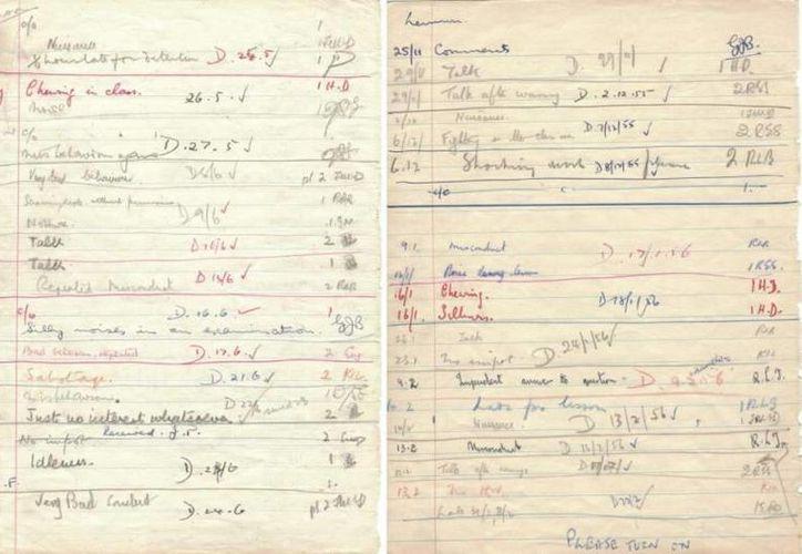John Lennon en su adolescencia  fue enviado a la sala de castigo en 29 ocasiones entre el 9 de septiembre de 1955 y el 11 de julio de 1956. Estas son las hojas de castigos escolares. (EFE)