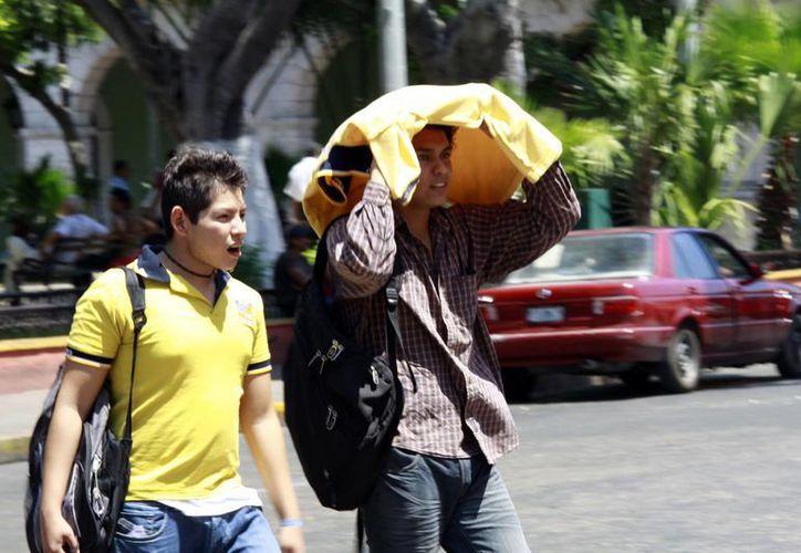 La radiación solar no cede y Conagua recomienda usar sombrero o protegerse con sombrillas para evitar los dañinos rayos UV.  (Christian Ayala/SIPSE)